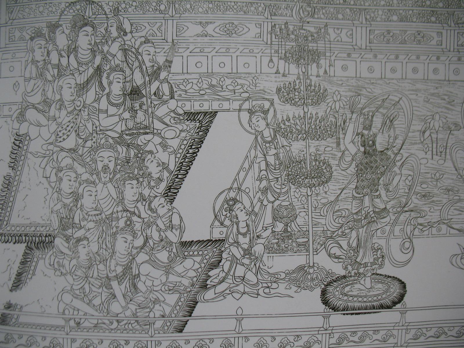 对照线描稿不难发现,隋唐时的中国绘画在人物的描绘方面已