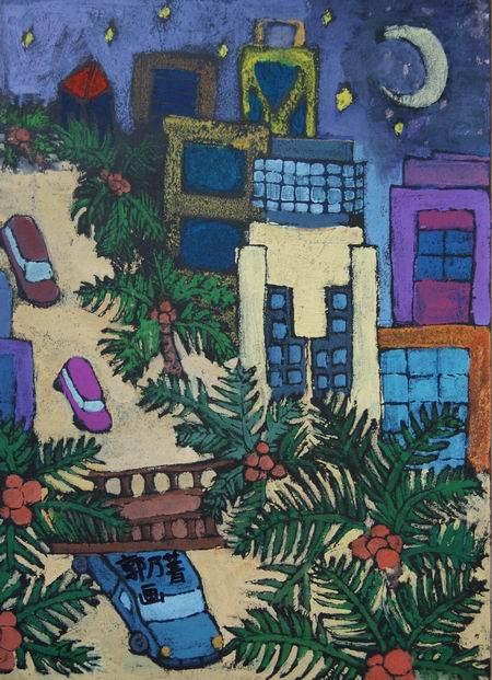 郭乃菁 六年级(4)班 水粉画; 小学生我爱家乡; 四年级水粉画图片大全图片